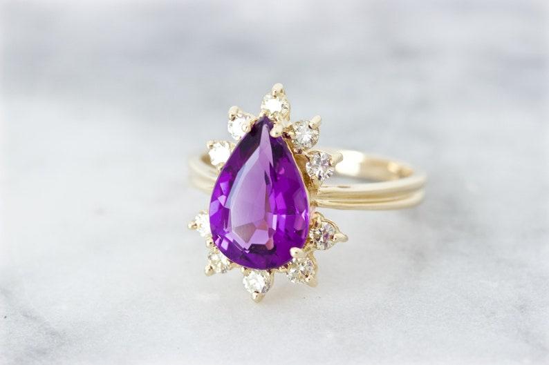 Vintage Amethyst Engagement Ring Diamond Halo Cluster 14k image 0