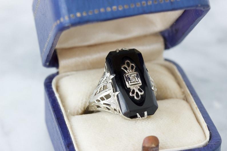 Antique 1920s Ring Black Onyx Rings Art Deco Filigree Ring image 0