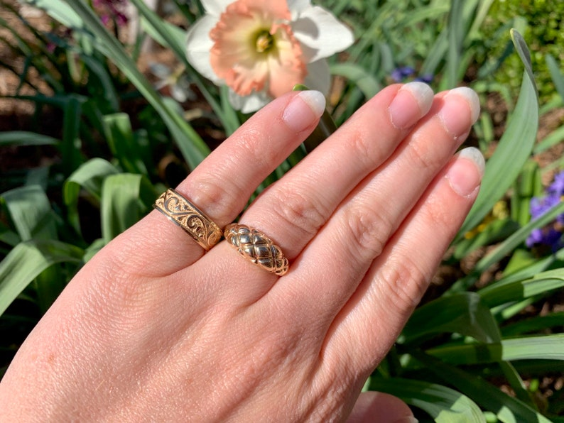Minimalist Stackable Jewelry Unique Gold Ring 14k Yellow Gold Rings Size 6.25 Puffy Textured Ring Vintage Estate Dome Ring