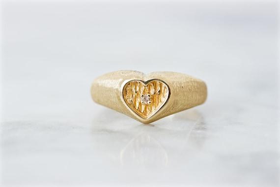 Cute Vintage Diamond Heart Cocktail Ring, 14k Yell