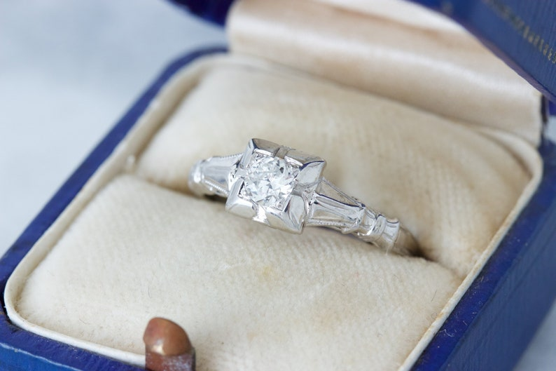 1920s Engagement Ring Antique Art Deco Jewelry 18k White image 0