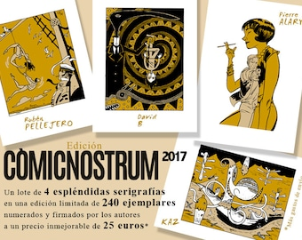 COMICNOSTRUM 2017 edition. 4 Serigraphies from 4 greatest comic artists