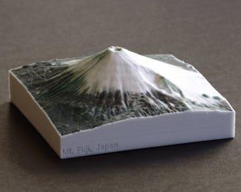 """Mt. Fuji 3D Map, 4"""" Full-color gypsum 3D print"""