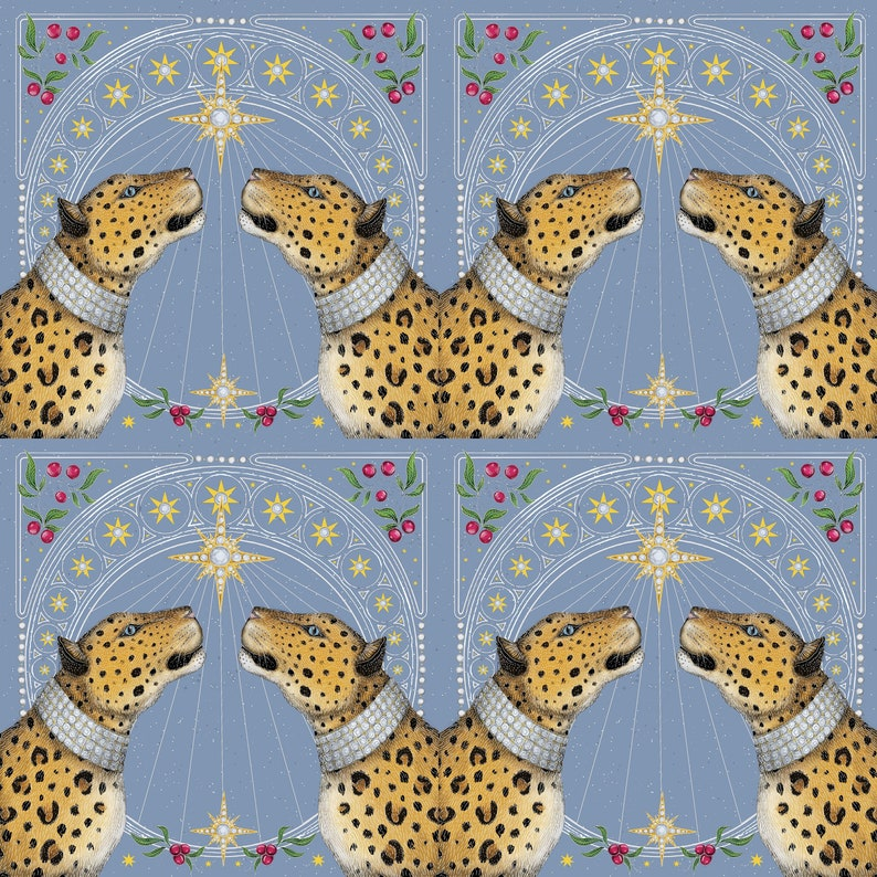 Nouveau Leopards in Frost Fabric