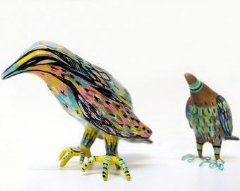 bird art , bird sculpture , one of a kind sculpture , pastel art , pastel colours , bird , cool decor , special gift , wedding gift , art ,
