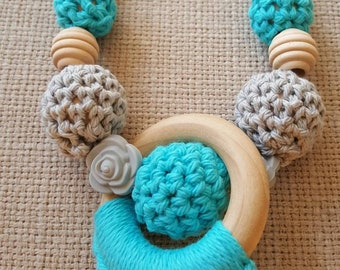 Crochet Nursing Necklace, turquoise and gray, wood and silicone nursing necklace, teething necklace, baby shower gift, mama necklace