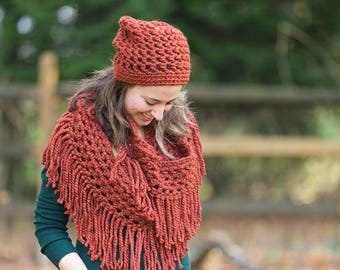 Crochet fringe scarf - crochet chunky scarf - fringe scarf - infinity scarf - womens scarf - womens accessory - winter accessory