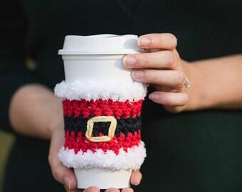 Santa Cup Cozy - crochet santa cup cozy - santa mug cozy - mug hug - Christmas gift - santa mug hug - crochet santa mug cozy