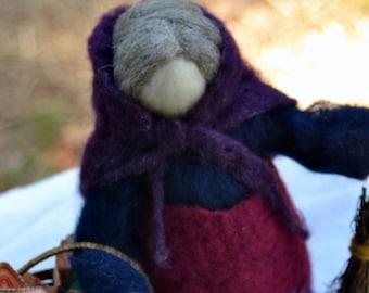 La Befana needle felted waldorf inspired Holidays Santa Claus made to order