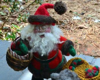Needle Felted Santa Claus and Donkey