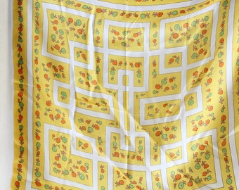 Vintage Springy Yellow Floral/Maze Scarf