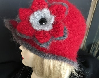 Felted Red Wool Child's hat