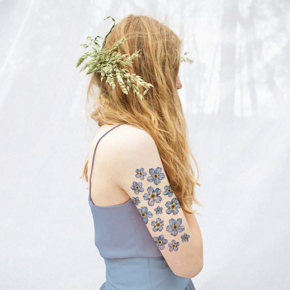 Forget Me Not Floral Temporary Tattoo Kit Etsy