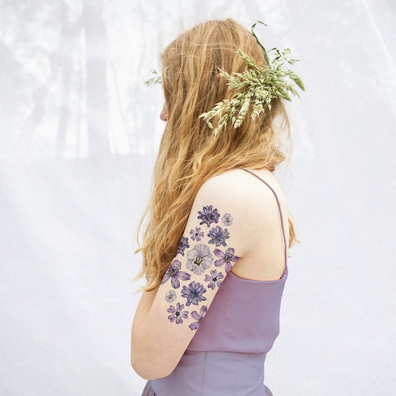 Lilac Floral Temporary Tattoo Kit Etsy