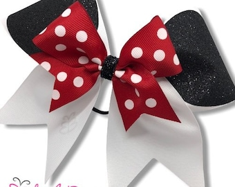 Disney inspired CheerDance Hair Bow with Minnie Mouse competition or school TinkerBell /& Castle-any bow can be personalized with a name