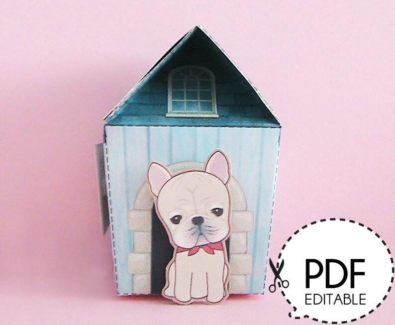 Frenchie Dog House Gift Box – Printable PDF Download