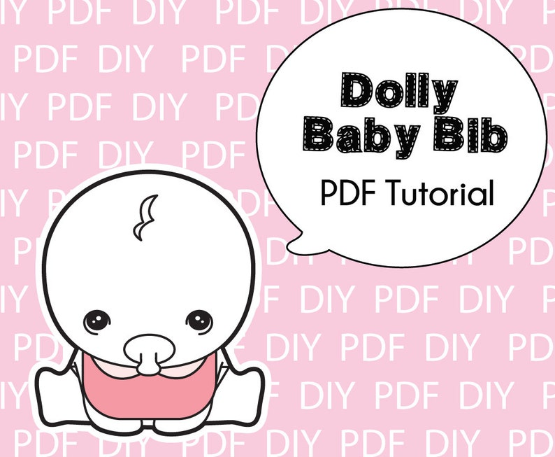 image relating to Baby Bib Pattern Printable named Dolly Little one Bib Practice-Printable PDF Down load