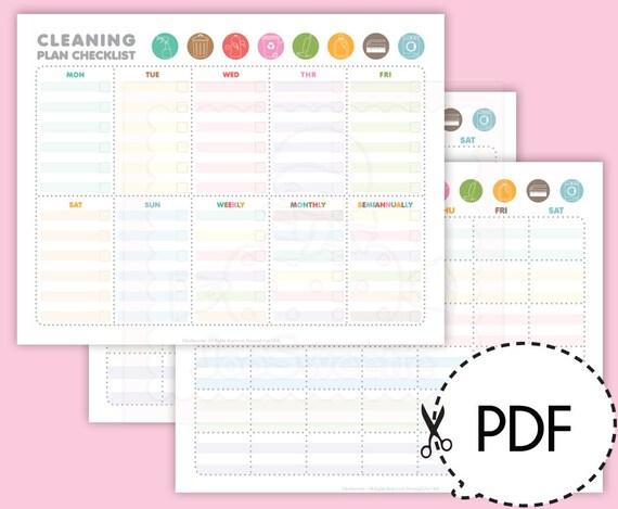 Reinigung Plan Checkliste und Kalender-Druck-PDF Download   Etsy