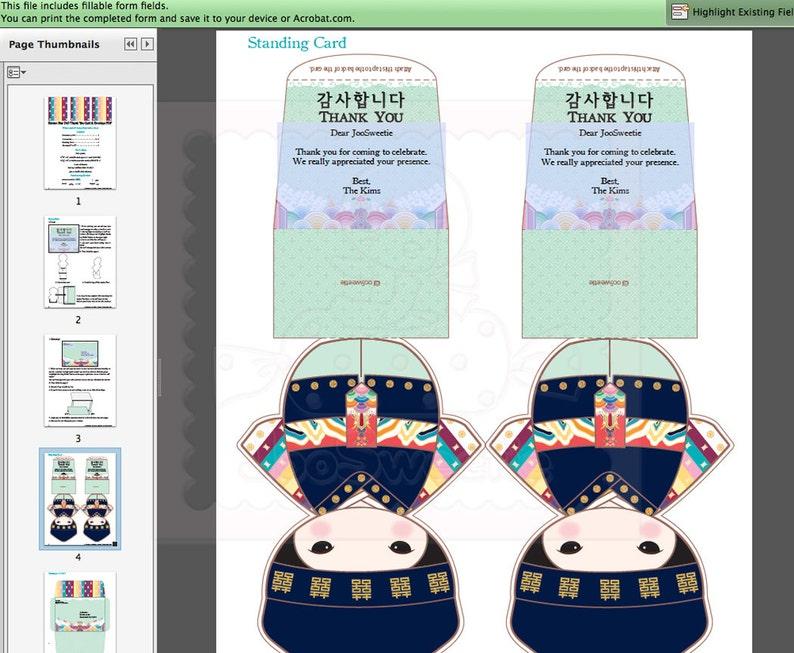 Printable PDF Download Korean Boy Standing Doll Thank You Card /& Envelope