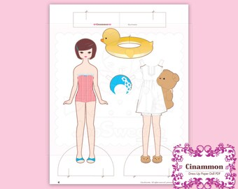 Cinammon, Dress-Up Paper Doll-Printable PDF Download