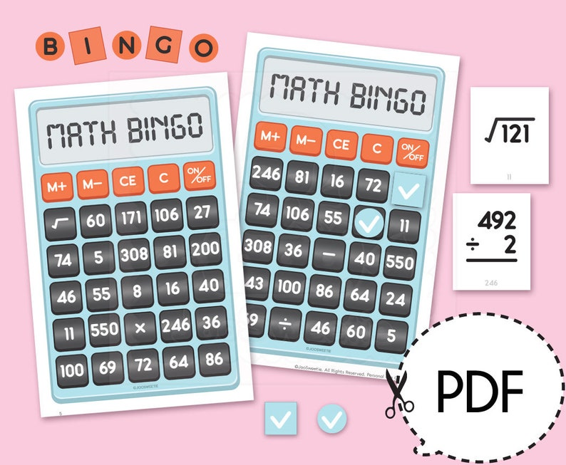 photo regarding Math Bingo Printable called Math Bingo Recreation KitPrintable PDF Down load