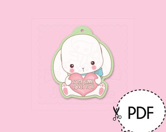 Some Bunny Loves You Easter Bunny Gift Tag-Printable PDF Download