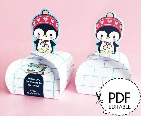 Penguin Mini Favor Box Printable Pdf Download Etsy