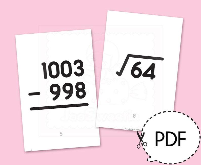 Math Bingo Large Pull Cardshalf Letter Sizeprintable Pdf Etsy