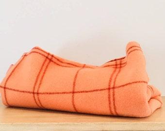 Vintage Peach Plaid Wool Blanket