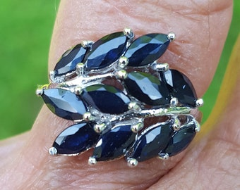 sapphire ring size 6 1/4 1980's 2.5ct genuine natural GORGEOUSE MARQUISE blue sapphires 14k white gold over sterling ring