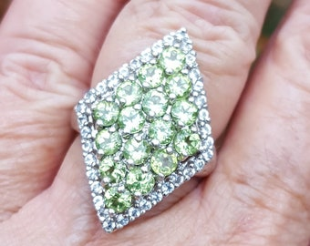 203519cabed9 peridot ring size 7 1970 s 5ct genuine natural peridot and white topaz RICH  SPARKLY GEMS deco designer signed estate vintage sterling ring