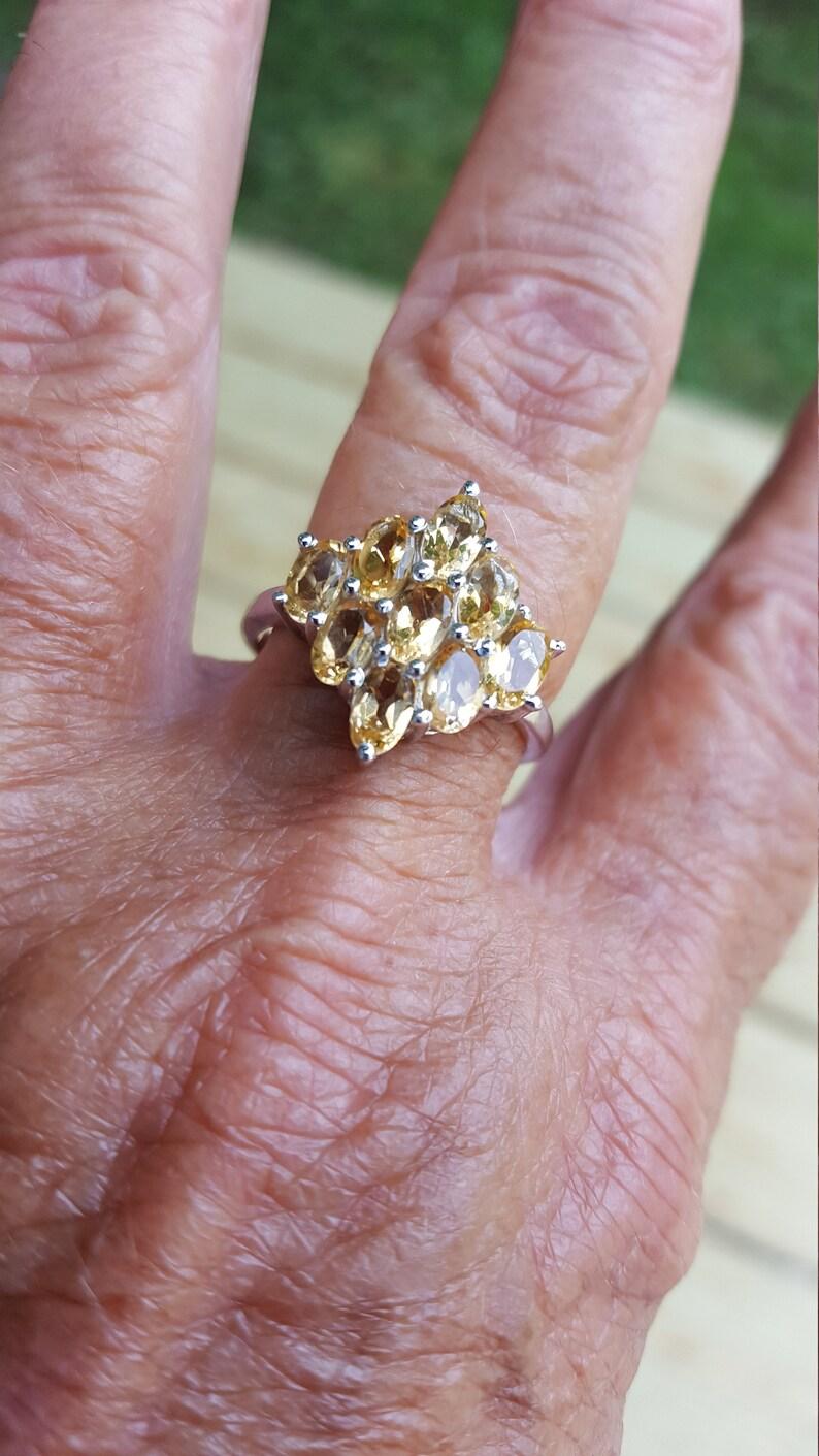 citrine ring size 9 14 1980/'s 3ct genuine natural citrine estate vintage sterling ring