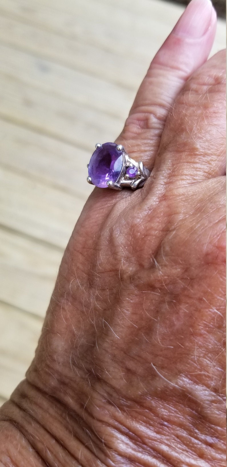 amethyst ring size 6 1980/'s 5ct genuine natural DARK amethyst 8 gram designer signed estate vintage silver