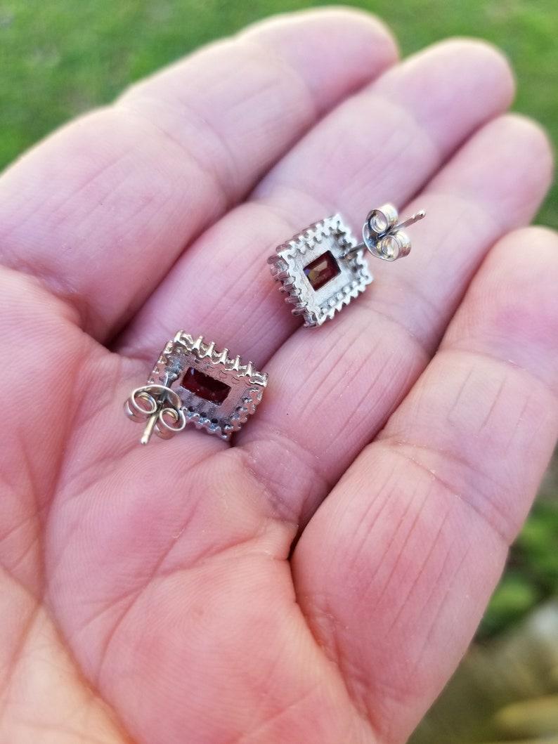 ruby earrings stud 1970 3.5ct EMERALD cut genuine GORGEOUS RUBIES with cz/'s sterling vintage estate earrings