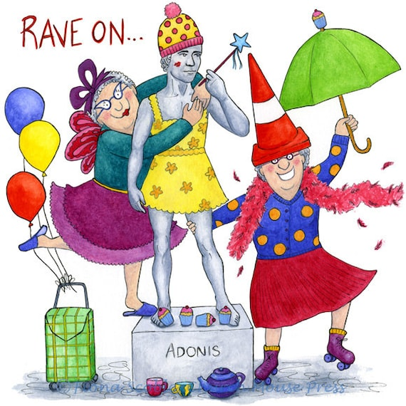 Rave On Crazy Old Ladies Birthday Card Funny And Colourful Etsy