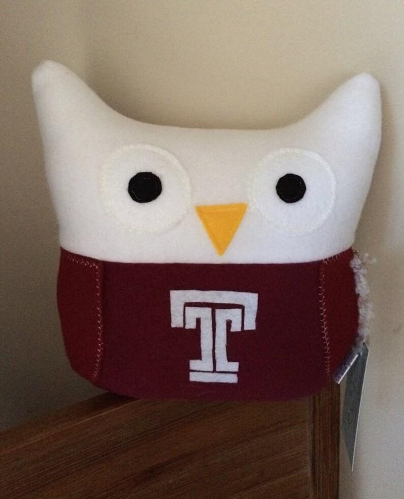 Temple Owls Plushie Temple University colors owl plush Small image 1