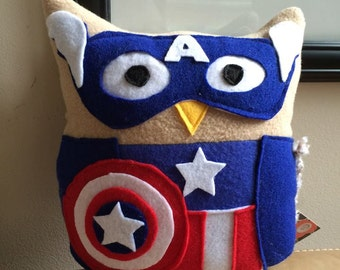 Captain America Owl Plushie- Inspired by Captain America and the Avengers- mini Captain America Owl Plushie