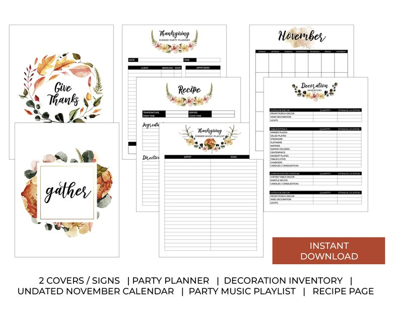 Thanksgiving Dinner Party Planner  INSTANT DOWNLOAD  Fall image 0