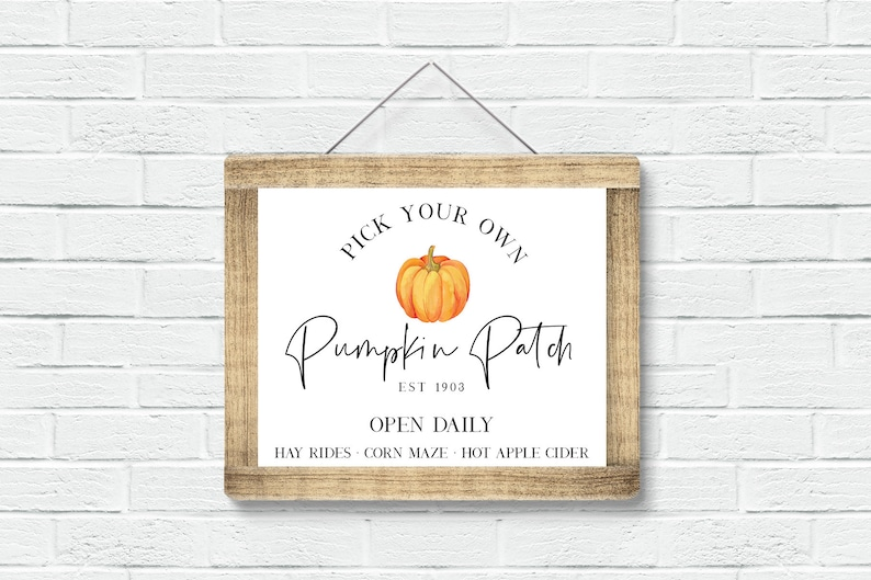 Farmhouse Pumpkin Patch Fall Sign PRINTABLE  11x14 and 16x20 image 0