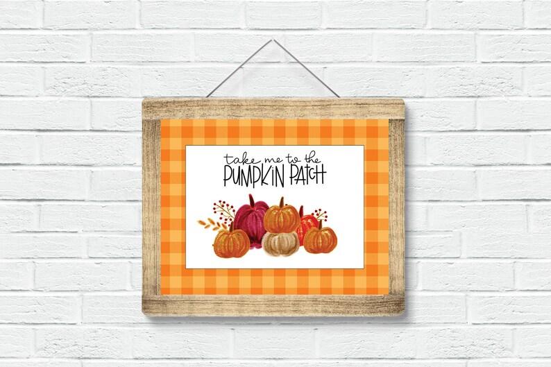 Plaid Pumpkin Patch Sign  Buffalo Check Sign  Fall Sign 8x10 image 0
