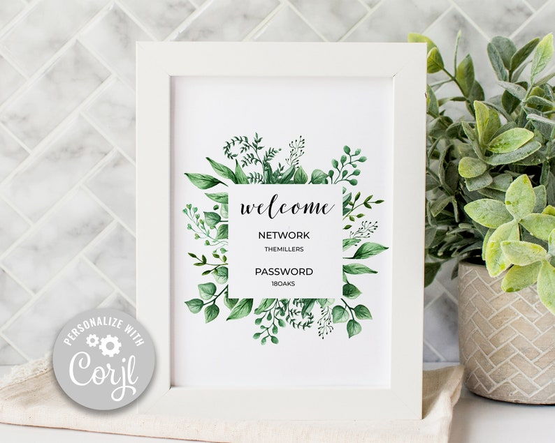 Editable Wifi Sign Herbaceous Greenery Wifi Password Sign image 0