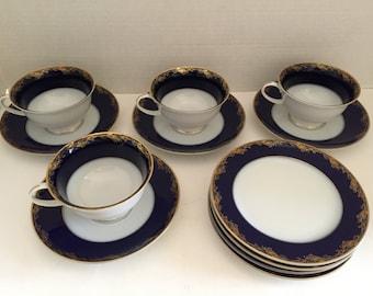 ROSENTHAL KOBALT BLUE Tea Set Gold Trim - Set for 4