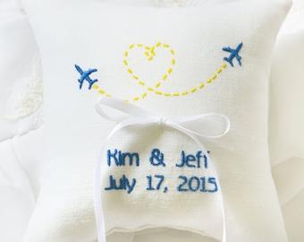 Ring bearer pillow , Planes wedding pillow , wedding ring pillow, Personalized ring bearer pillow, personalized pillow, wedding gift  (R145)