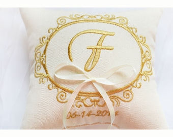 Personalised  Wedding ring pillow , ring pillow, ring bearer pillow with Custom embroidery, Ring Pillow , wedding pillow (R103)