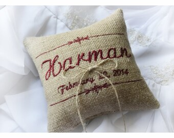 Burlap Wedding pillow , wedding pillow , ring bearer pillow, ring pillow,  personalized wedding pillow (R53B)