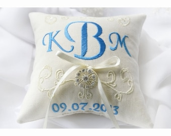 Rhinestone Ring bearer pillow, wedding ring pillow , Monogrammed ring pillow , embroidery wedding pillow (R6)