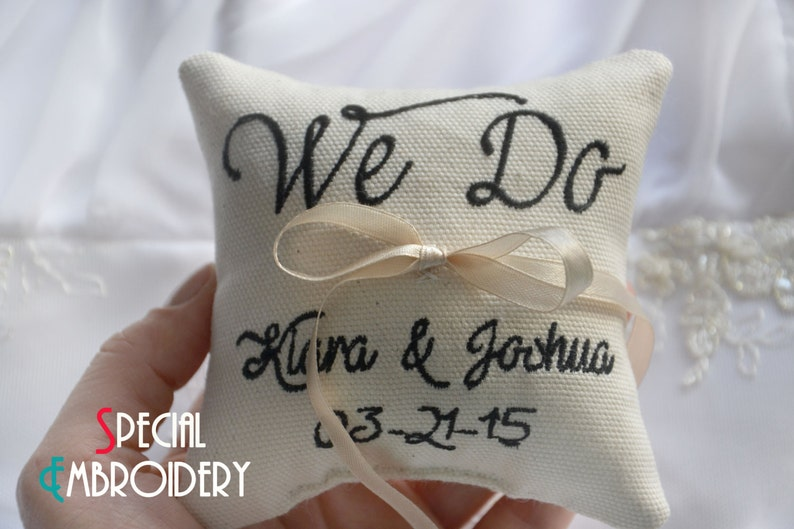 we do wedding pillow Personalized Wedding ring pillow Custom embroidery ring bearer pillow ring pillow LR32