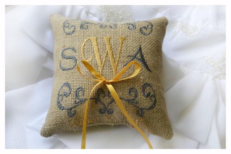wedding ring pillow Burlap Ring bearer pillow Custom embroidered ring bearer pillow R6B Monogrammed ring pillow