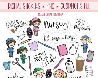 NURSE Digital Stickers for GoodNotes Planner, Student Nurse Pre-cropped Digital Planner Stickers, GoodNotes Stickers, Bonus Stickers