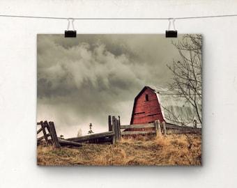 Red Barn, Fine Art Photography Print, 8x10, Rural Alberta Rustic Photo